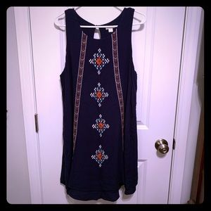 Xhilaration size XL navy blue embroidered dress
